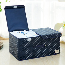 Folding Square Cotton Linen Storage Box For Clothing Wardrobe Rectangle Bin Organizer With Cover Portable
