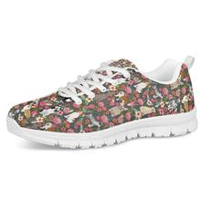 FORUDESIGNS Womens Fashion Sneakers Cartoon Running Sports Shoes Breathable Lace-up Flower Dogs Prints Pattern Working Shoes