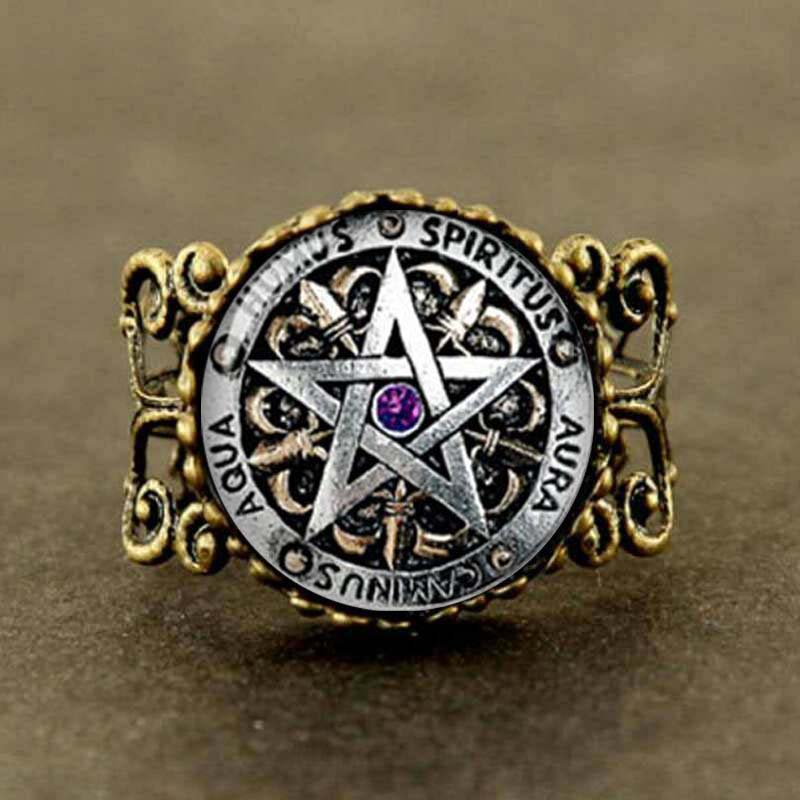 steampunk fashion wiccan protection black magick pagan pentagram ring round glass dome gift women men antique - Pagan Wedding Rings