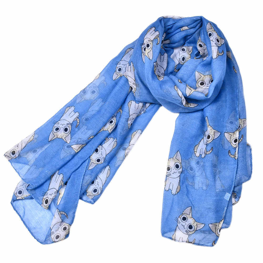 aa6ff1a7363a6 ... Female Mini Chi's Sweet Home Cat Printed Scarf Cute Carton Figure Chi  Cat Blanket Stole Wrap ...