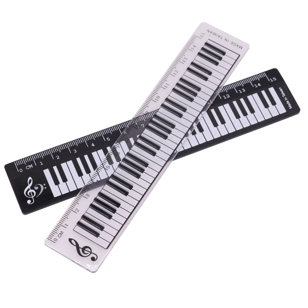 Wholesale 50 Pcs Black OR Transparent 15cm Straight Ruler Piano Pattern Plastic Material Student Stationery Measuring Tools