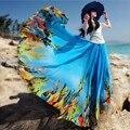 2017 Summer skirt women blue floral print chiffon skirt bohemian floor length skirt