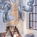Balões Número Da Folha de Prata de Ouro de 40 polegadas Dígito Ar Balões De Hélio Balões Festa de Aniversário Decoração Do Casamento Fontes Do Partido Do Evento