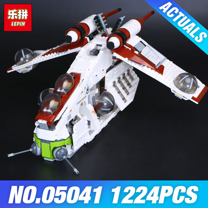 Lepin 05041 Star Plan The Republic Gunship 75021 Wars Toys SelfLocking Model Building Blocks Brick Educational Christmas Gifts lepin legoing 75021 1224pcs star series wars the republic gunship building blocks brick educational toys for children 05041