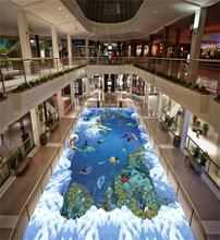 3d pvc flooring custom photo mural picture wall sticker Sea Mermaid floor painting room wallpaper for walls 3d