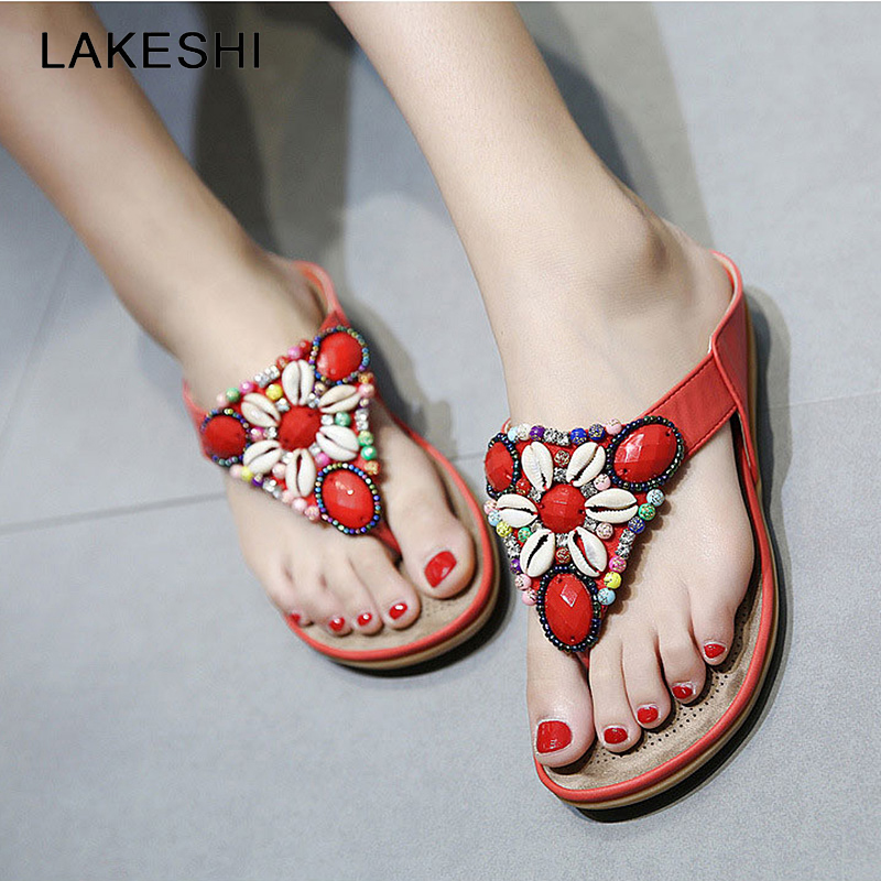229560787af680 LAKESHI 2018 Bohemian Women Sandals Summer Shoes Fashion Woman Flats  Sandals Gemstone Floral Beaded Flip Flops