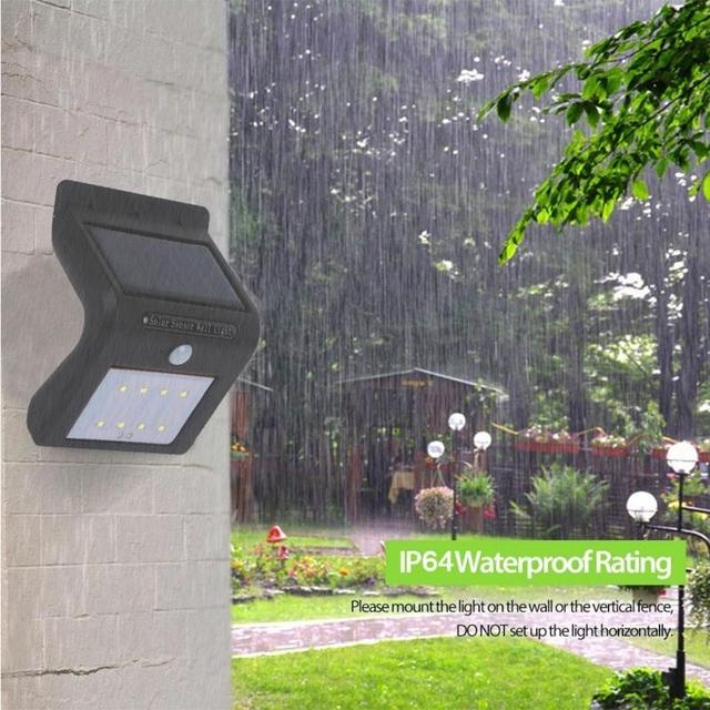 8 LED Solar Power Light Wireless Sensor Human Body Induction Lamp Home  Bright Black