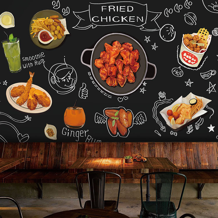 Custom 3d mural Fried chicken cuisine Hot pot barbecue bar snack wallpaper mural blackboard hand-painted graffiti mural image