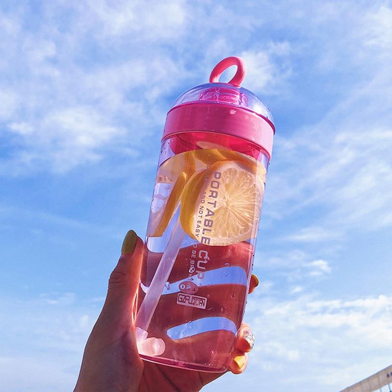 380ml Handle Straw Water Bottle adult kid Outdoor Sport Bottle Healthy Life Sport Hiking Climbing Bottle For Water My Bottle in Water Bottles from Home Garden