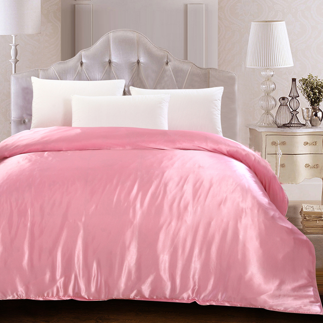 Pink Green Black High End Silk Satin Twin Queen King Size Quilt Cover Solid Color