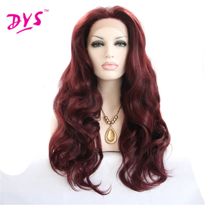 Deyngs Wine Red Synthetic Lace Front Wigs With Natural Hairline Burgundy Synthetic Wigs Fluffy Full Femmle Party Wigs Free Part