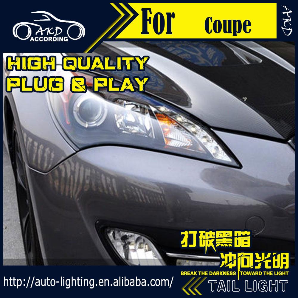 AKD Car Styling Head Lamp for Hyundai Genesis Coupe Headlights Rohens LED Headlight H7 D2H Hid Option Angel Eye Bi Xenon Beam
