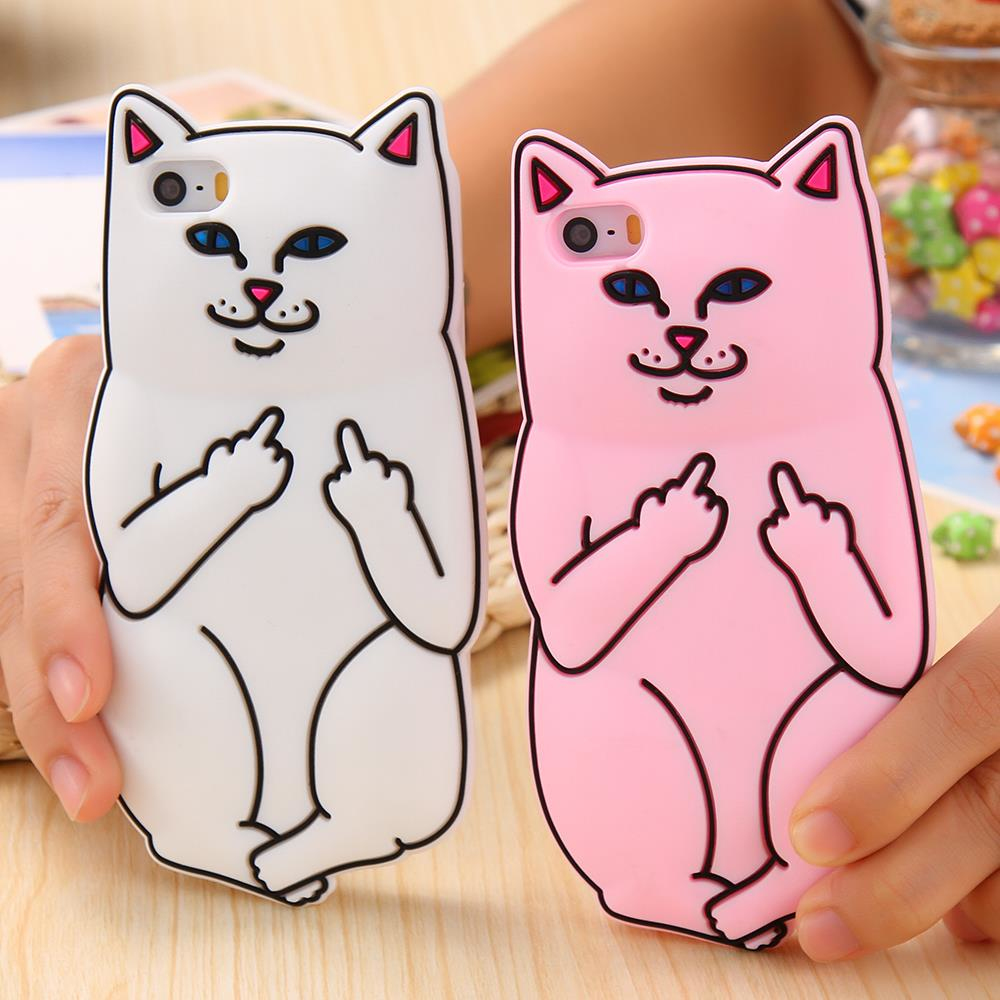 3D Soft Silicon Cat Case For Iphone 6 6s / iphone6 6s Plus SE i5 5s Cartoon Animals Rubber Middle Finger Capa Cover For iphone6