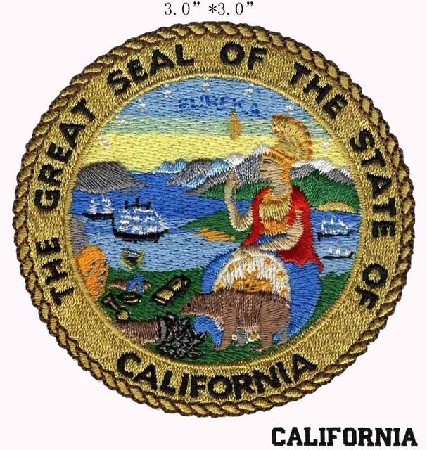 California State Seal Embroidery Patch 3 Wide Shipping Landscape