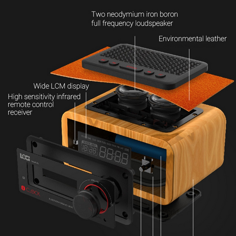 Bezprzewodowy budzik ustawienie funkcja radia FM Bluetooth Plug in głośnik przenośny głośnik multimedialny małe Stereo Mini zegary w Budziki od Dom i ogród na  Grupa 3