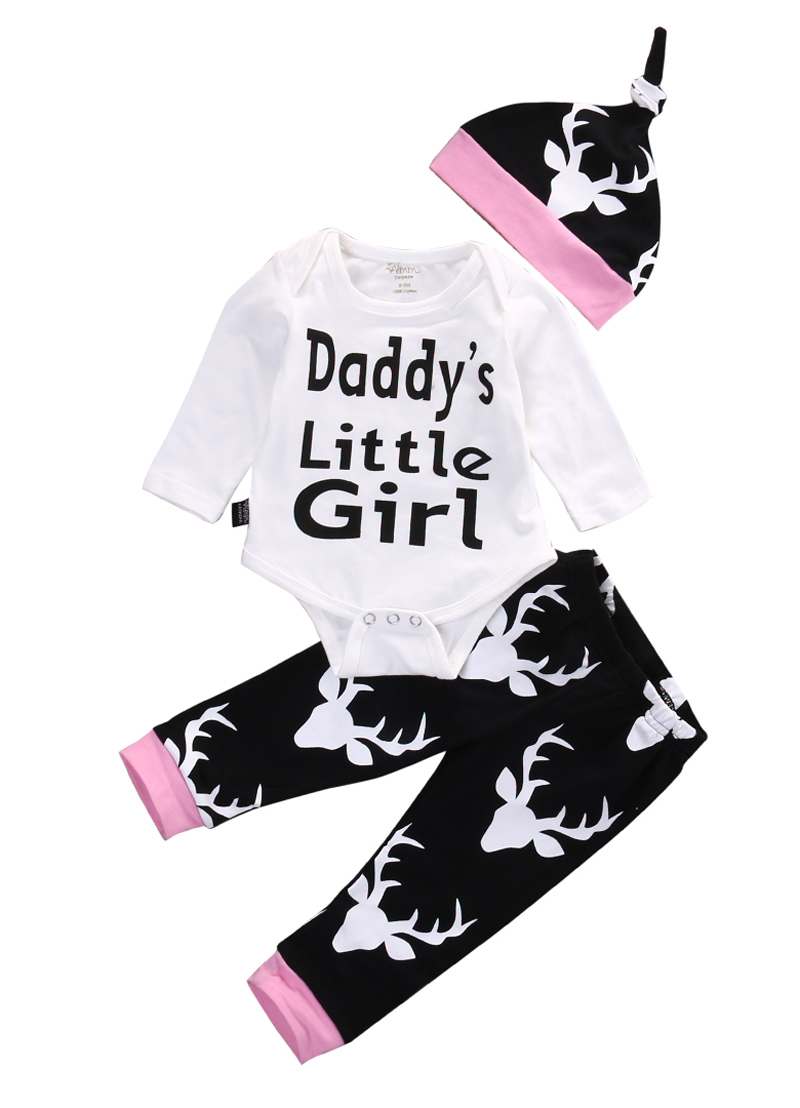 New Casual Newborn Baby Girls Clothes Little Girl Tops Romper +Long Pants Hat Outfits Set Clothes