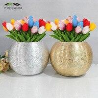 Flowers Vases Table Centerpiece Plating Vase Ceramic Art Brushed Tabletop Flower Holder for Home Decoration Best Gifts G059