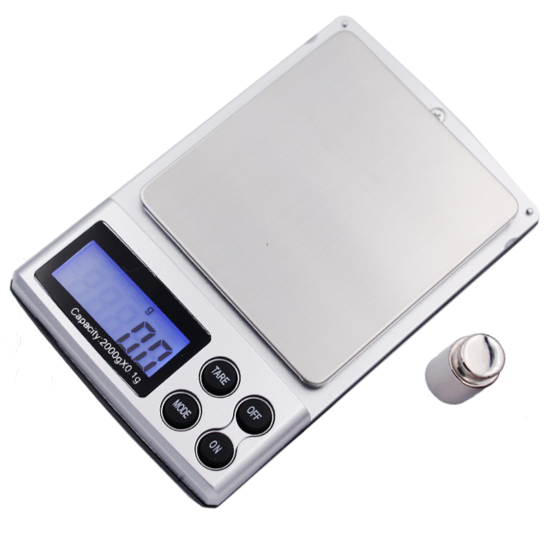 2000g x 0.1g New Portable LCD Display Mini Pocket Jewelry Digital Scales Electronic Weighing Kitchen Scales Balance 10%off