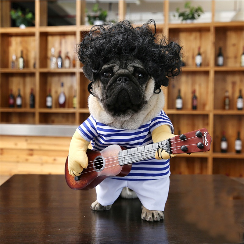 Funny Guitar Player Cosplay Dog Costume For Small Dog Large Dog Retriever Halloween Party Supplies 27