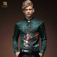 FANZHUAN 2017 Autumn New Product Men Shirt Long Sleeve Fashion Vintage Dark Green Plant Flowers Pattern Printed Shirt M 5XL