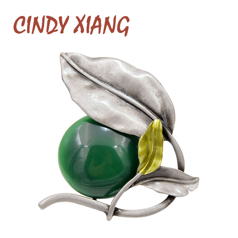 CINDY XIANG 2 Colors Choose Resin Bead Leaf Brooches for Women Vintage Elegant Brooch Pin Enamel Jewelry Coat Accessories Gift
