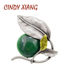 CINDY XIANG 2 Colors Choose Resin Bead Leaf Brooches for Women Vintage Elegant Brooch Pin Enamel Jewelry Coat Accessories Gift цена