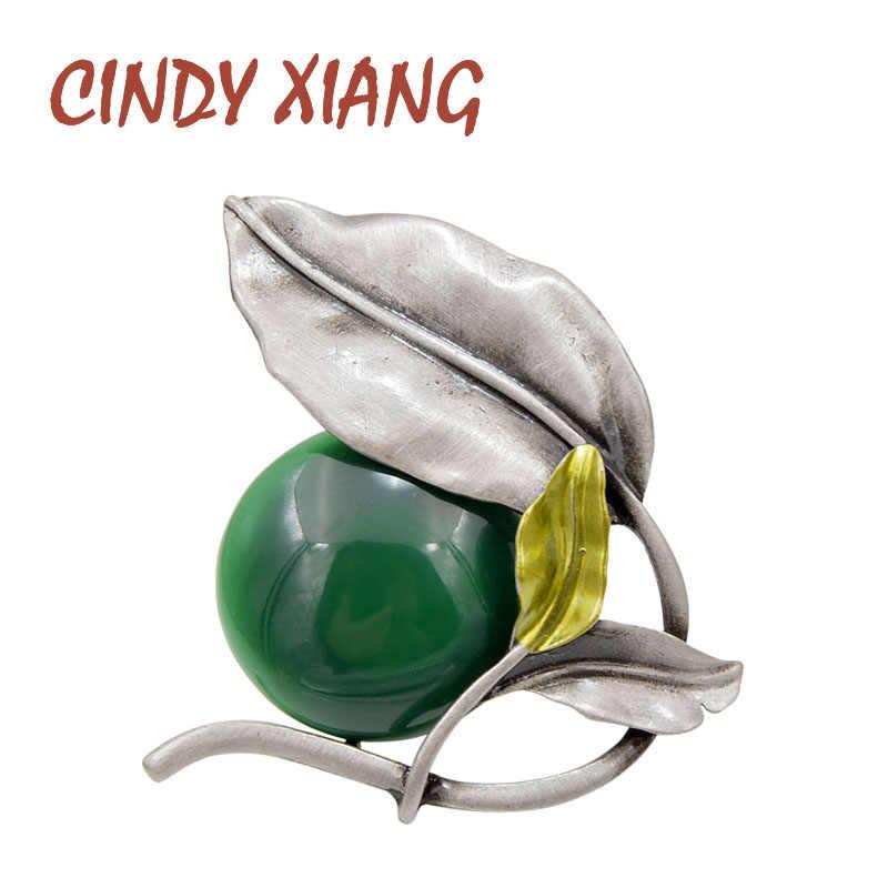 Cindy Xiang 2 Warna Pilih Resin Bead Daun Bros untuk Wanita Vintage Elegan Bros Pin Perhiasan Enamel Mantel Aksesoris Hadiah
