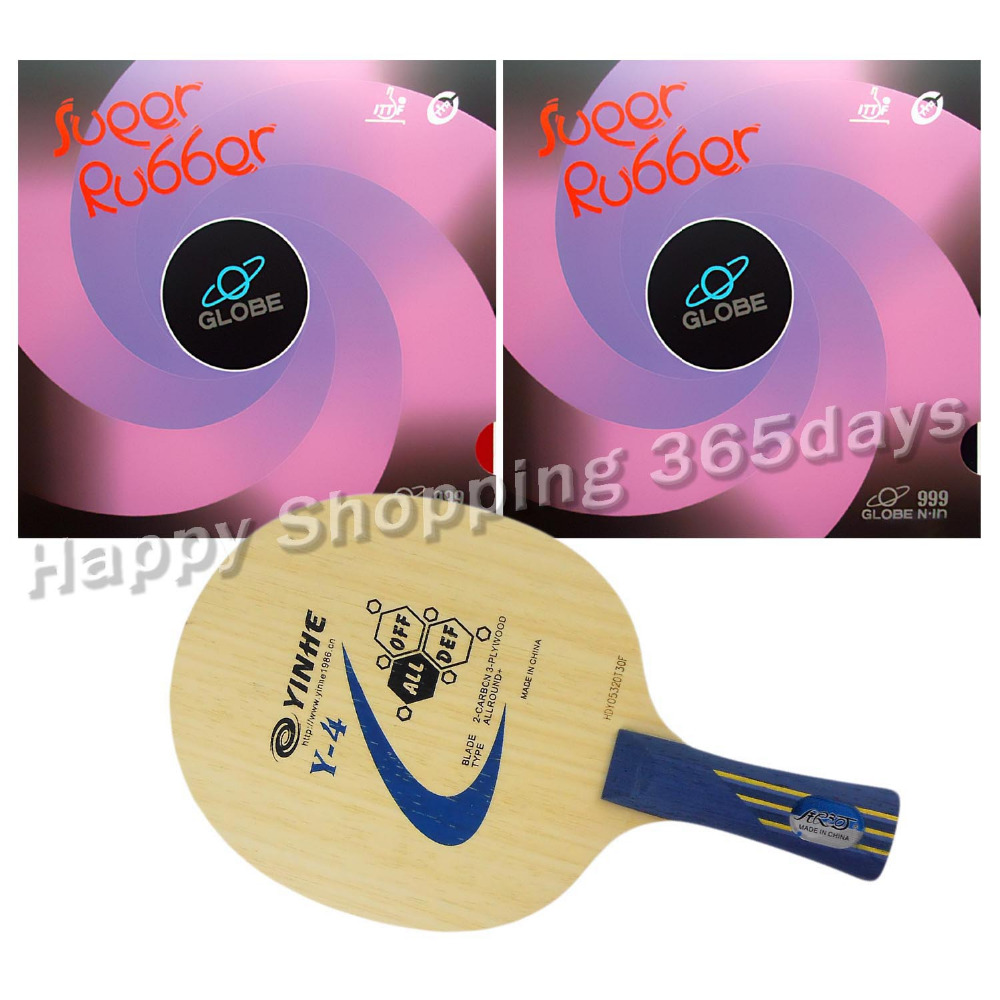 Pro Table Tennis PingPong Combo Racket Galaxy Y- 4 Blade with 2x Globe 999 Rubbers with Japan Sponge Long Shakehand FL