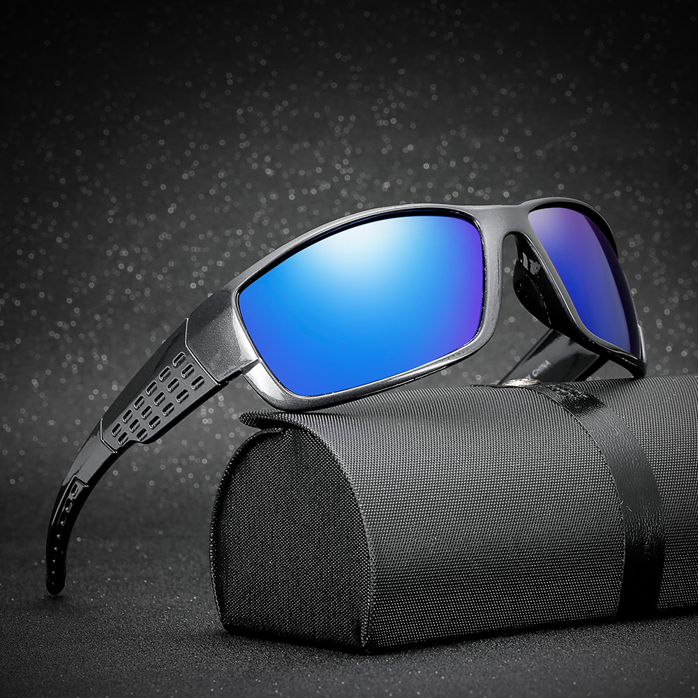 Купить с кэшбэком AIELBRO Polarized Sunglasses Men UV400 Brand Designer Sun Glasses Square Coating Black Fishing Driving Eyewear Goggle Oculos