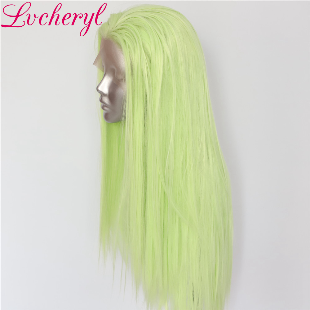 Lvcheryl Soft Hair Light Green Natural Straight Heat Resistant Synthetic Lace Front Wigs for Women Party