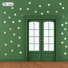 100PCS/lot 3D DIY Acrylic Mirror Wall Sticker Heart Round Shape Stickers Decal Mosaic Mirror Effect Livingroom Home Decor(China)