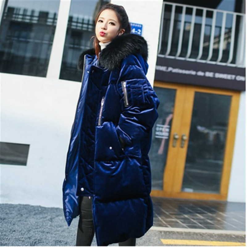 New 2017 Fashion Winter Parkas Long Large Hooded Fur Collar Velvet Coat Loose Woman Jacket Warm Thicken Parkas Female Outwears 2015 new hot winter thicken warm woman down jacket coat parkas outerwear hooded leisure luxury long loose plus size 2xxl cold