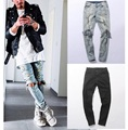 2016 NEW Distressed Skinny Ripped hip hop Jeans Mens Big Hole On Knee Black And Blue Swag Streetwear Clothes Slim fit  Denim Pan