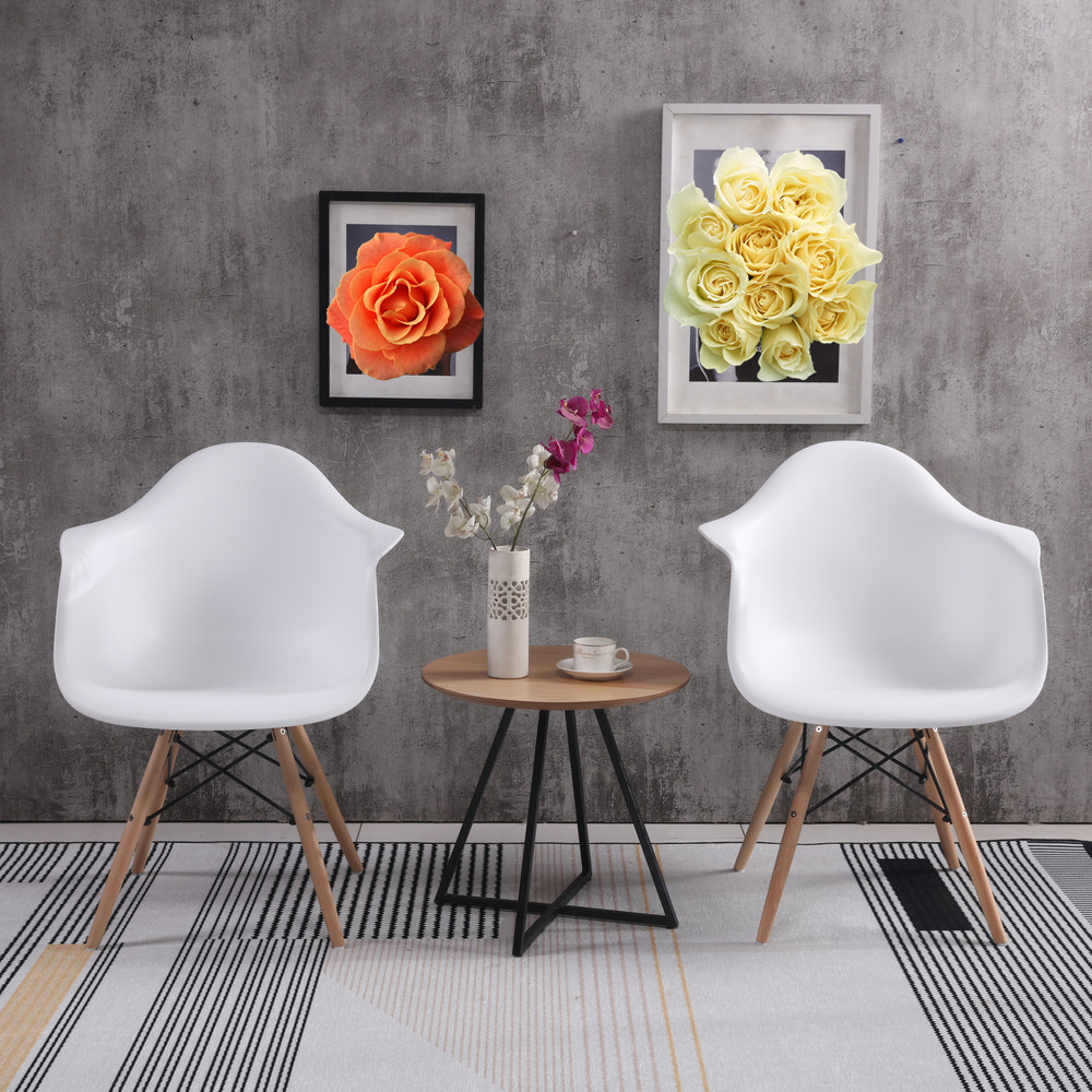 ELERANBE Set of 2 Armchair Plastic Dining Room Chair Reading Kitchen Wood Leg Simple Coffee Chair Modern Design Furniture White modern minimalist kitchen household dining chair dining chair comfortable bow the tophams hotel computer chair coffee chair