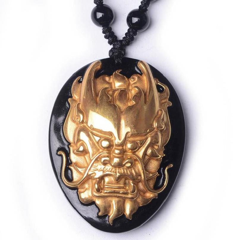 Beautiful Chinese natural black obsidian carved gold obsidian zodiac dragon head lucky amulet for women and men pendant necklace natural jade black pendant women jewelry pendants black obsidian handmad carved chinese charm necklace fashion hand carved gift