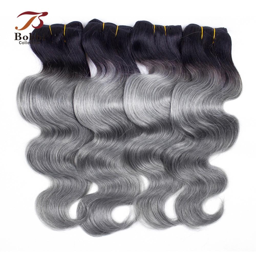 Bobbi Collection 3/4 Bundles Brazilian Body Wave T 1B Dark Grey Two Tone Ombre Hair Weave Bundles Remy Human Hair Extension