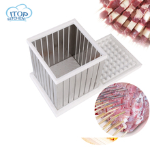 ITOP 64 Skewers Kebab Maker Box Easy Tool for BBQ Machine Beef Meat Maker factory price beef mutton chicken chicken heart manual doner kebab meat skewer maker meat string machine