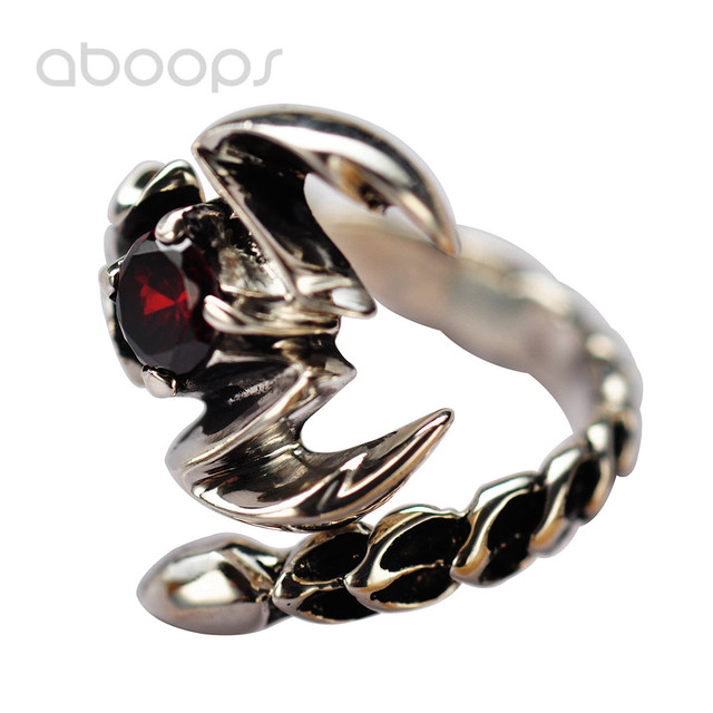 Vintage Small Black 925 Sterling Silver Scorpion Pinky Ring Jewelry with Red Garnet Stone for Men Women Adjustable