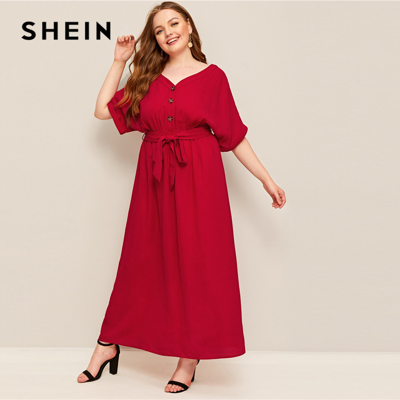 US $23.63 48% OFF|SHEIN Red Plus Size Button Front Self Belted Maxi Dress  Women Summer Autumn Short Sleeve V Neck Solid Shift Workwear Dresses-in ...