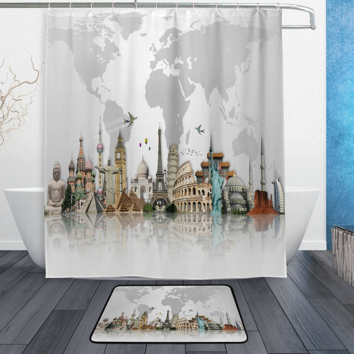 travel around the world famous scene waterproof polyester fabric shower curtain with hooks doormat bath bathroom home decor grey