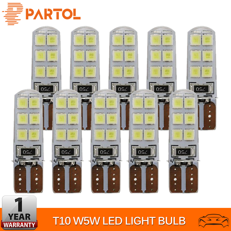 Partol 10PCS T10 W5W LED Car Interior Light <font><b>12</b></font> <font><b>SMD</b></font> <font><b>2835</b></font> Marker Lamp 12V 194 168 Side Wedge Parking Bulb Canbus Auto Car Styling image