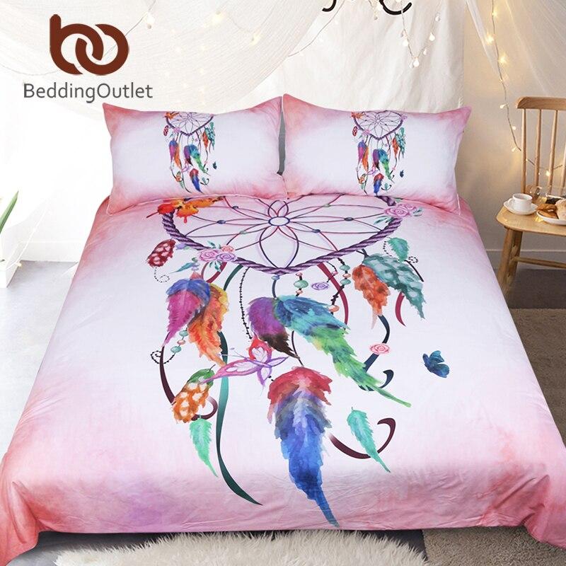 BeddingOutlet Heart Dreamcatcher Bedding Set Pink and Sky Blue Duvet Cover Watercolor Feather Bed Set Soft Microfiber Bedclothes