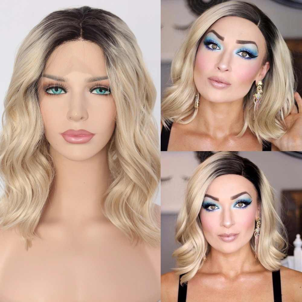 BeautyTown Korte Ombre Blonde Hittebestendige Hand Gebonden Blogger Dagelijkse Make-Up Synthetische Lace Front Bruiloft Halloween Party Pruik