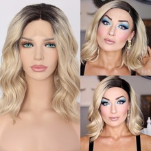 BeautyTown Short Ombre Blonde Heat Resistant Hand Tied Blogger Daily Makeup Synthetic Lace Front Wedding Halloween Party Wig