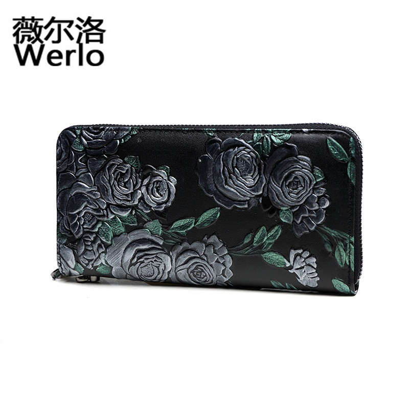 WERLO Brand New Designer Fashion Women Wallet Luxury 100% Genuine Leather Long Purse Women Zipper Clutch Bag Female Wallet SJ137 2pcs lot new fashion animal 3d cat dog printing coin purse 100% polyester zipper wallet brand women bag monederos wallet