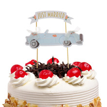 JUST MARRIED Cake Flags Cupcake Topper Toppers Kids Birthday Wedding Bridal Wrapper Party Baby Shower Baking DIY Xmas
