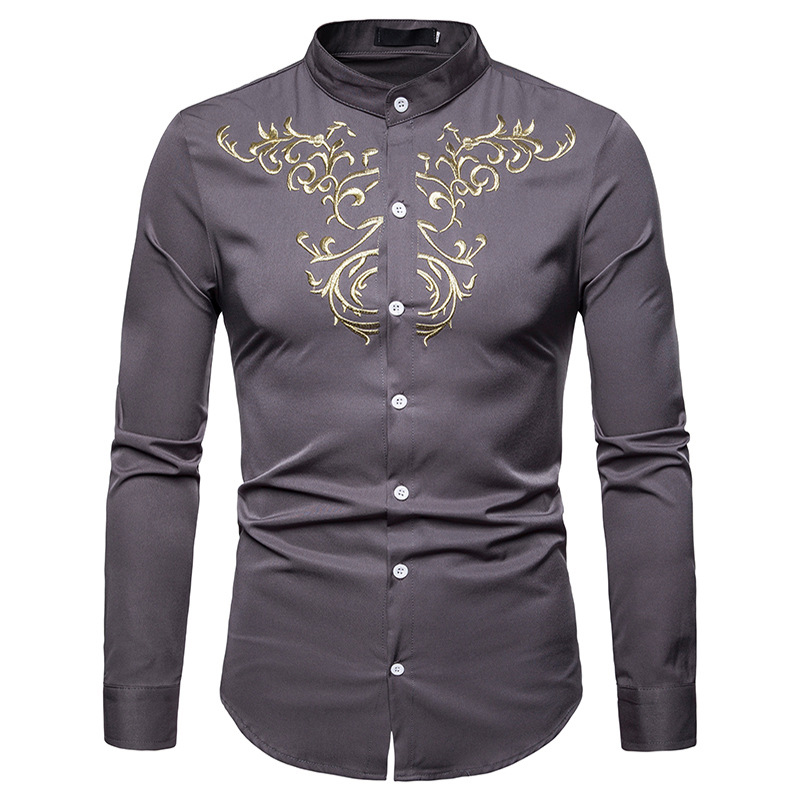 Stand Collar New Shirt Men Casual Slim Fit Gold Floral Embroidery Mens Dress Shirt Long Sleeve Male Henry Shirt Chemise Homme Tuxedo Shirts