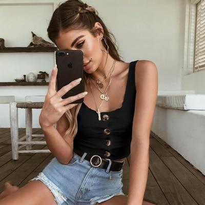 Nuojin 2018 Summer Crop Top Women Button Ruffle Harajuku White Cropped Feminino streetwear tank top tube Up
