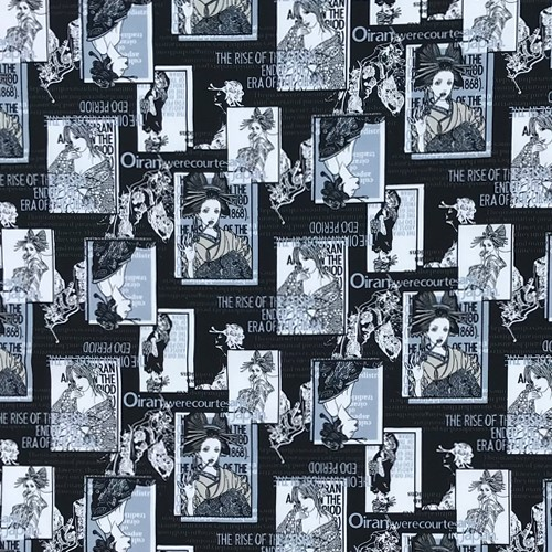 The RISE OF THE GEISHA ENDED THE ERA OF THE OIRAN Black Cotton Fabric for Woman Summer Dresses Japanese Kimonos DIY-AF525