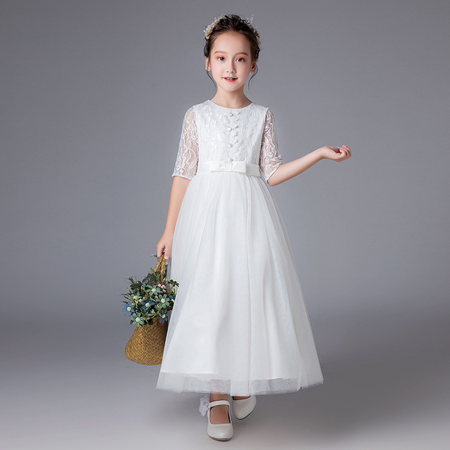 a61c39043250b Homecoming Girls Dresses Wedding Flower Long White Girl Vestido 4 6 8 10 12  14 16 17 Years Old Kids Clothes Summer 2018 184041